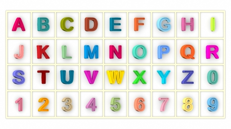 typescript: font, big colorful letters standing. 3D rendering Stock Photo