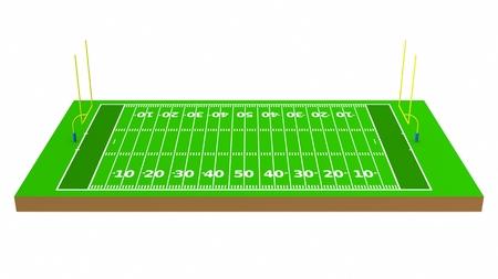 American football field 3d rendering