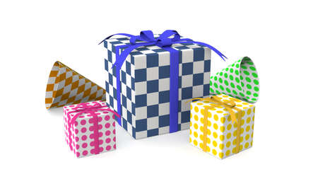 Gift boxes, with ribbon background. 3D rendering.