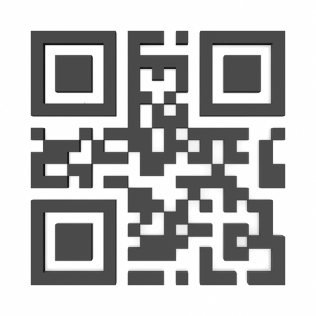 qr code on white background. 3d rendering Stock Photo