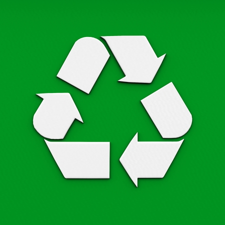 recycle logo on green background. 3d rendering