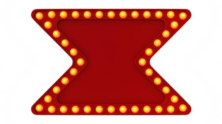 Red Marquee Light Board Sign Retro On White Background 3d Rendering
