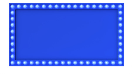 Blue Marquee light board sign retro on white background. 3d rendering