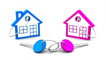 Pink Blue house and key on white background. 3D rendering