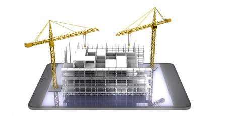 Construction scaffold crane on tablet of highrise buildings. 3D rendering Stock Photo