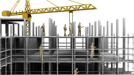 Construction scaffold crane on white background of highrise buildings. 3D rendering