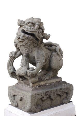 Legendary Male Lion Guard Statue on Black Background