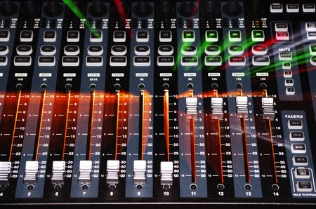 Sound Mixer Board in Front View with Zoom Light