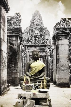 angor: Buddha Statue at Bayon Castle, Angor Cambodia Stock Photo