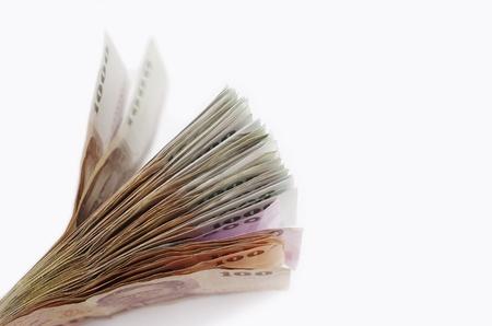 Money Thai Baht Cash on White Background