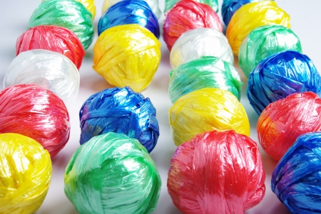 Colorful Ball by Plastic Rope by Creative Recycle Concept photo