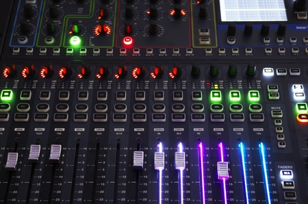 Front view of Sound Mixer System with Operating Light