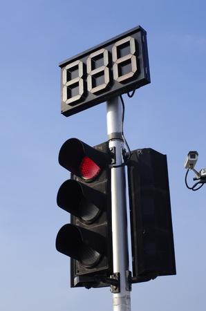 Traffic Light Pole and Countdown Sign Standard-Bild