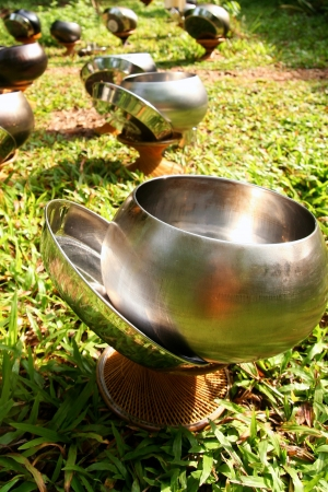 Silver Monks Alms Bowl in the Sunlight