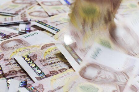 Falling of Money Thai Baht Cash  Standard-Bild