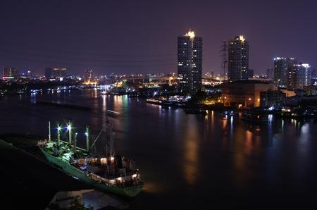 Night City at Bangkok Chao-Phraya River View