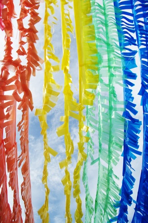 Colorful Plastic Strip Create by Recycle Concept Standard-Bild