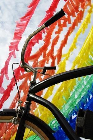 Colorful Plastic Strip and Bicycle