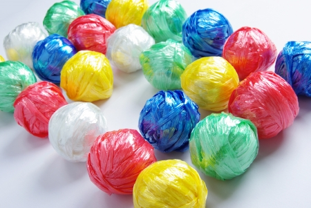 Colorful Ball by Plastic Rope with Creative Recycle Concept photo