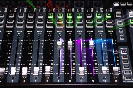 mixing: Sound Mixer System with Zoom Explosion Light Stock Photo