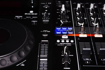 electronica musica: Mezclador de DJ Turntable Foto de archivo