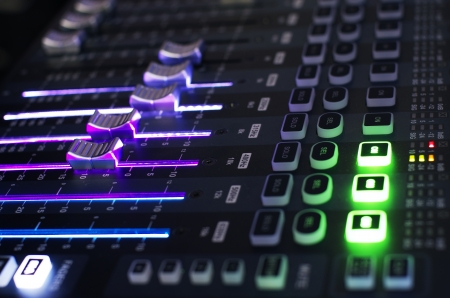 music production: Sound Mixer Board in Side View