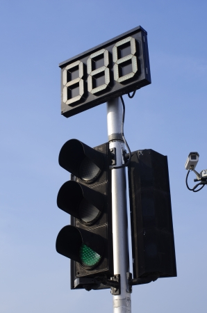 Traffic Green Light and Countdown Sign with CCTV Standard-Bild