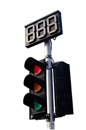 Traffic Light Red, Yellow and Green with Countdown Sign on White Background
