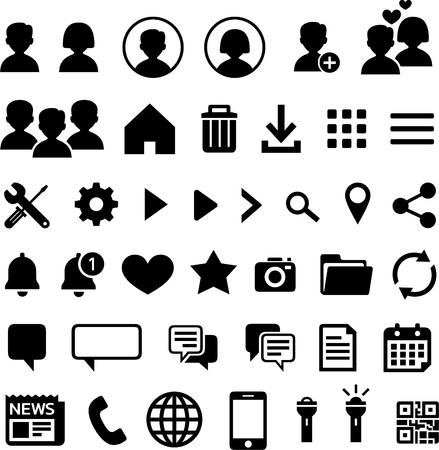Outline icons for mobile applications Illustration