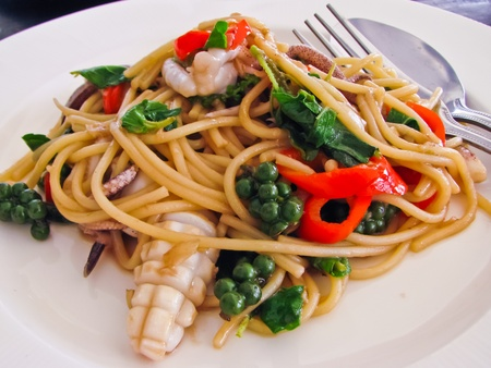 Thai syle pasta with squid and spicy