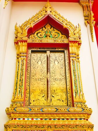 texture of window in temple at Ratchaburi,Thailand Stock Photo