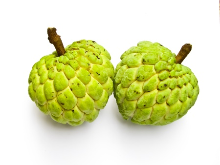 two custard-apples on white background