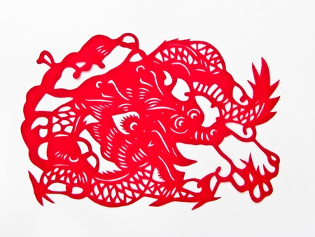 Red Dragon,The paper cutting. photo
