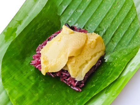 sweet sticky rice with egg custard topping Stock Photo