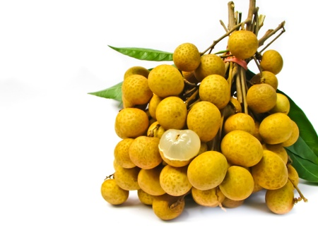 longan pile with leaves photo