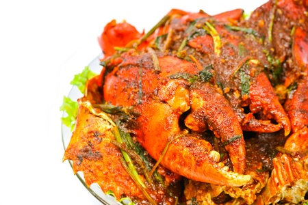 crab meat: fried Crab with curry paste Stock Photo
