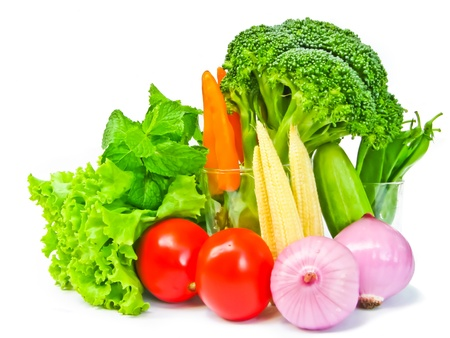 many kind of vegetables on white background