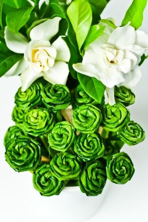 pandanus: roses made from pandanus leaves