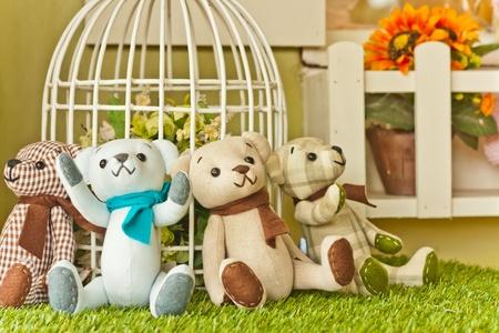 osos de peluche: cuatro osos de peluche Foto de archivo