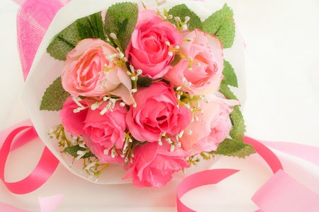 artificial pink roses bouquet Stock Photo