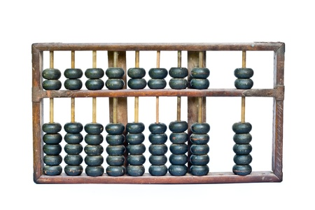 old wooden abacus on white background photo