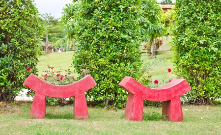 red modern style seat in garden Stock Photo