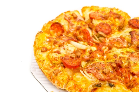 tasty sausage pizza on white background Stock Photo
