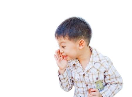 asian boy telling secret on white background