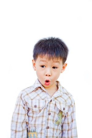 asian boy with surprised face on white background