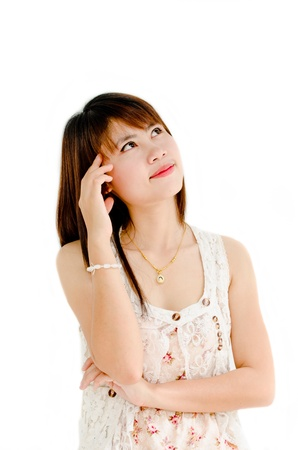 cute girl thinking about something on white background Stock Photo - 10981903