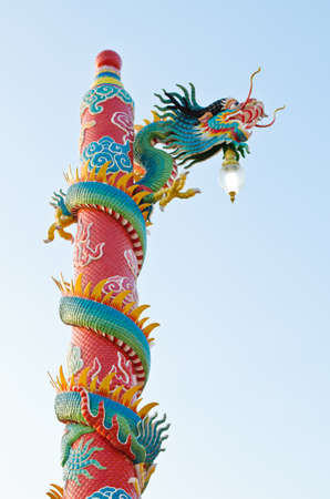 dragon statue at Chinese shrine ,Thailand Stock Photo