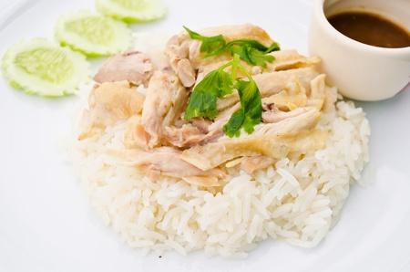 arroz chino: arroz al vapor con caldo de pollo en Tailandia Foto de archivo