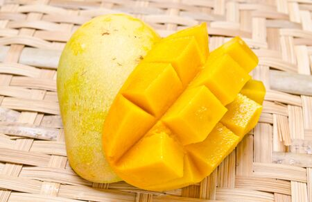 Fresh and colorful mango cut and cubed in its skin