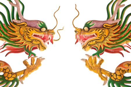 Two Chinese dragons isolated on white background photo